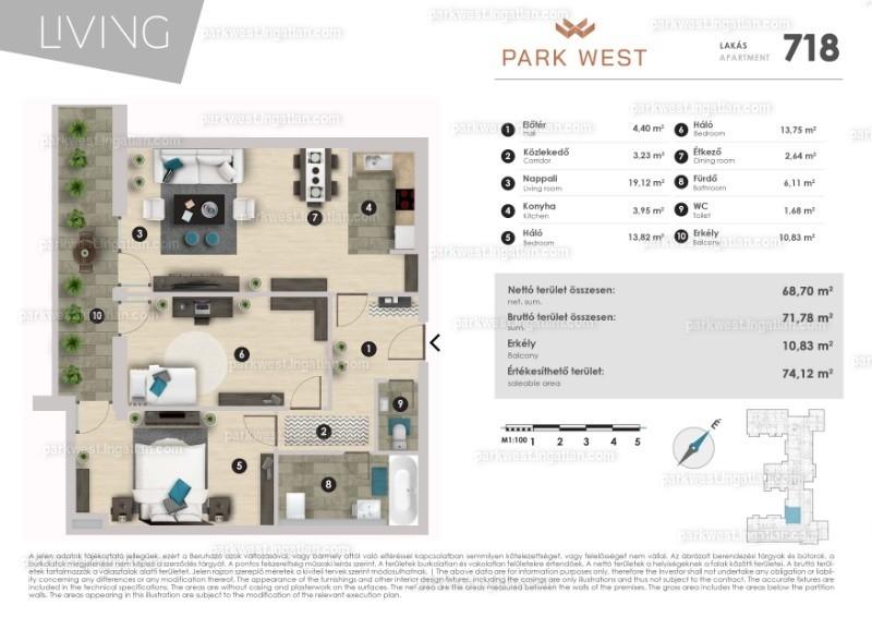 Park West - 2 + 1 szoba erkéllyel