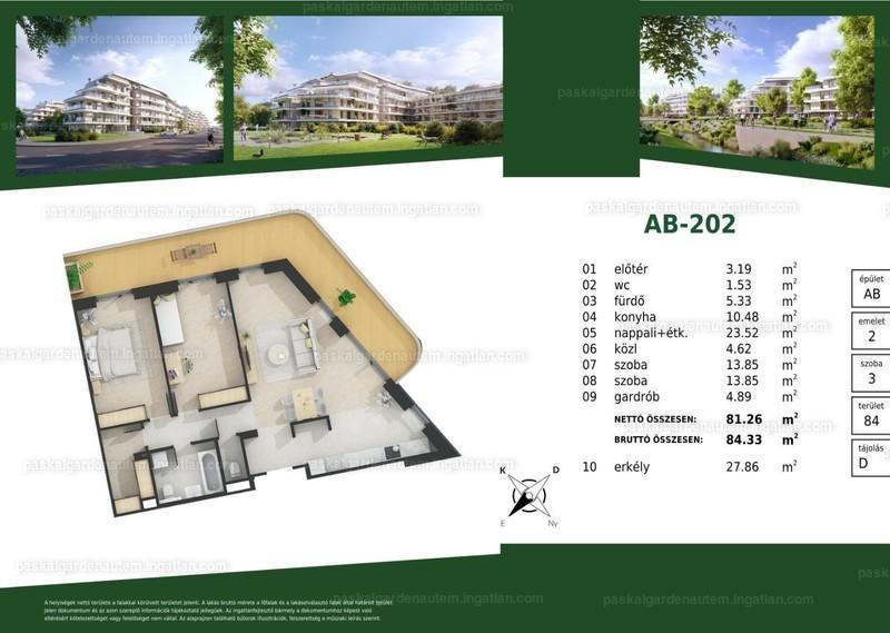 Paskal Garden A.ütem - 3 szoba erkéllyel