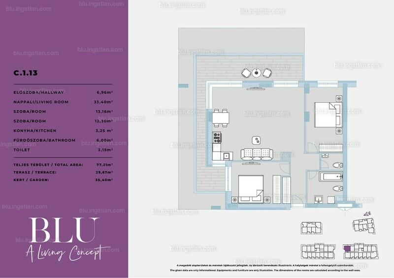 BLU - 3 szoba kertkapcsolattal