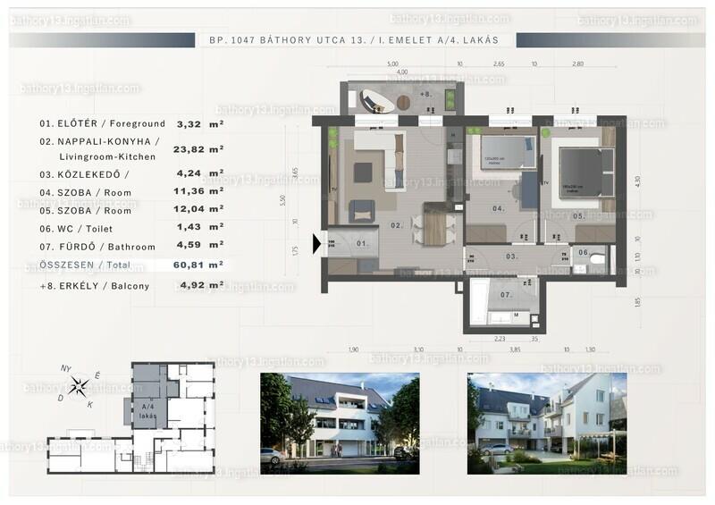 Báthory 13 - 3 szoba erkéllyel