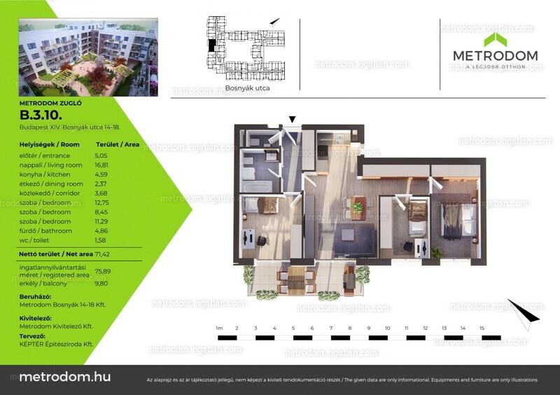 Metrodom Zugló - 3 + 1 szoba erkéllyel