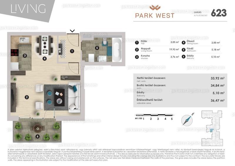 Park West - 1 szoba erkéllyel
