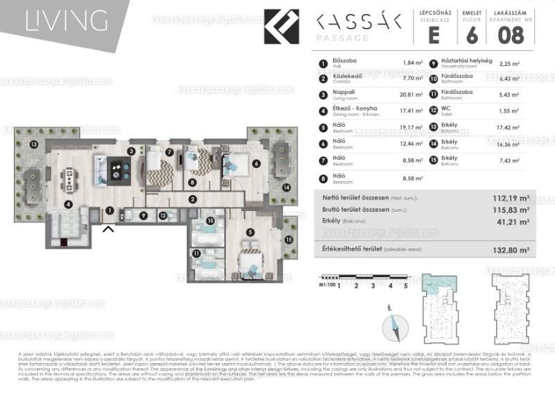 Kassák Passage - 3 + 2 szoba erkéllyel