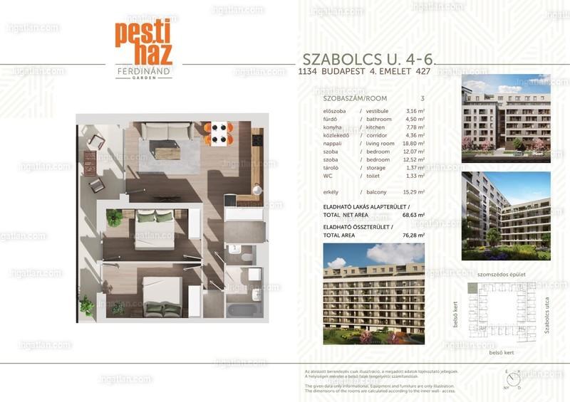 Pesti Ház - Ferdinánd Garden - 3 szoba erkéllyel