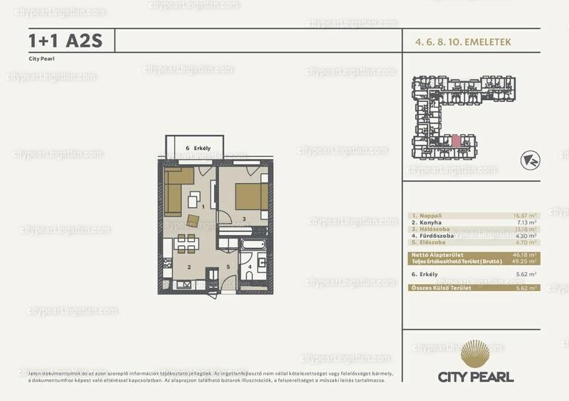 City Pearl Budapest - 1 + 1 szoba erkéllyel