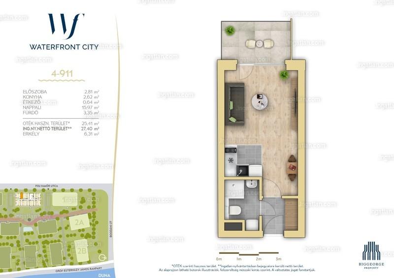 Waterfront City - 1 szoba erkéllyel