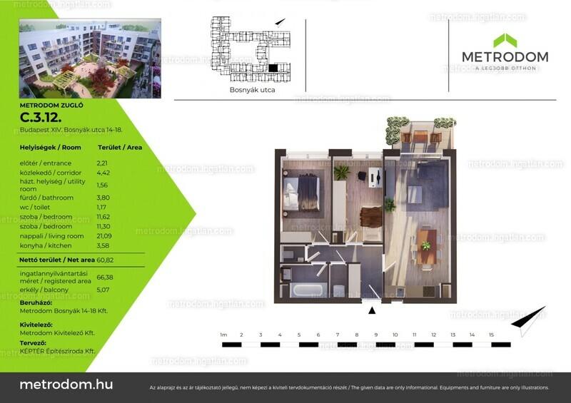 Metrodom Zugló - 2 + 1 szoba erkéllyel