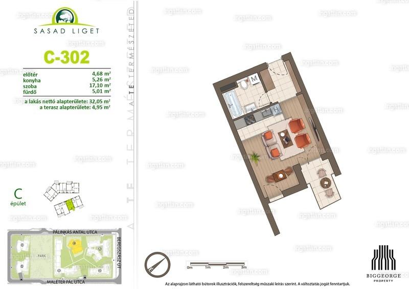 Sasad Liget VI. ütem - 1 szoba erkéllyel