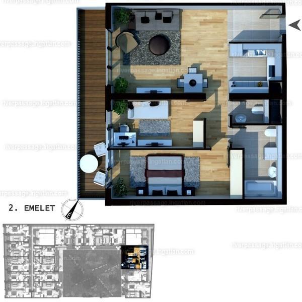 River Passage - 3 szoba erkéllyel