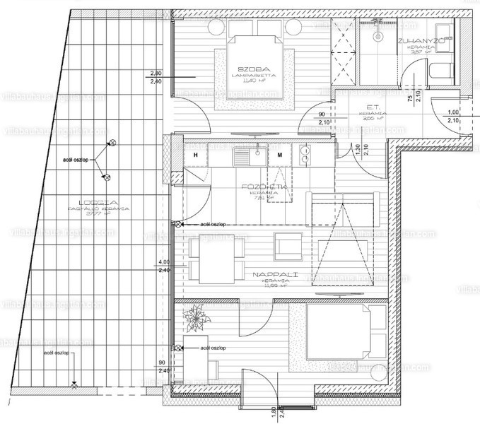 Villa Bauhaus - 3 szoba erkéllyel