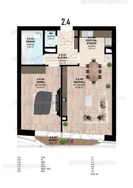 AJ3 Társasház - 2 szoba erkéllyel