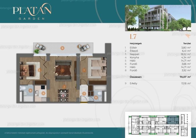 Platán Garden - 3 szoba erkéllyel