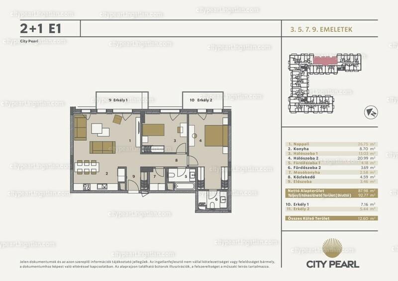City Pearl Budapest - 2 + 1 szoba erkéllyel