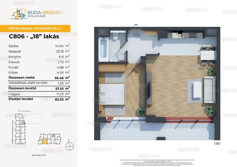BudaBright Lakópark - 2 szoba erkéllyel