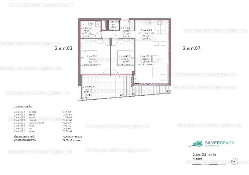 Silverbeach Residences - 3 szoba erkéllyel