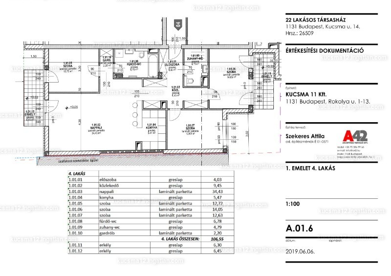 Kucsma 14. Társasház - 4 szoba erkéllyel