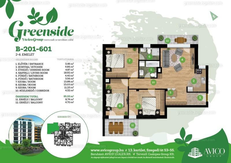 Greenside - 4 szoba erkéllyel