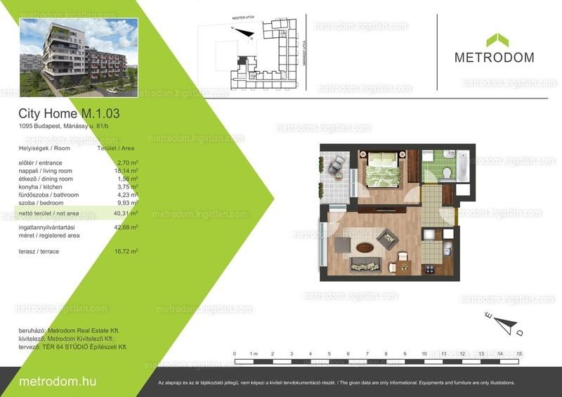Metrodom City Home L-M - 1 + 1 szoba erkéllyel