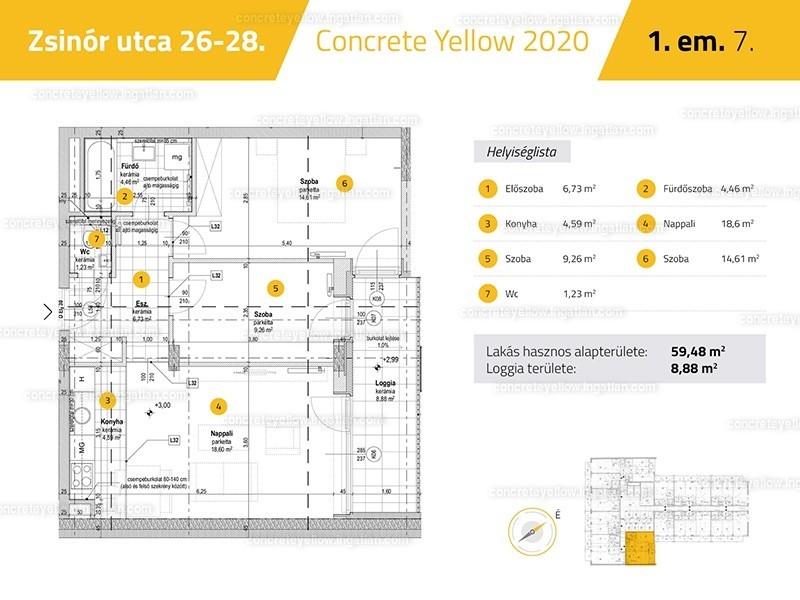 Concrete Yellow - 3 szoba erkéllyel