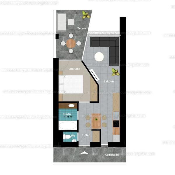 Marina Sétány Penthouse - 2 szoba kertkapcsolattal