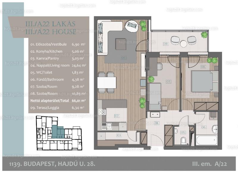 Hajdu28 - 3 szoba erkéllyel