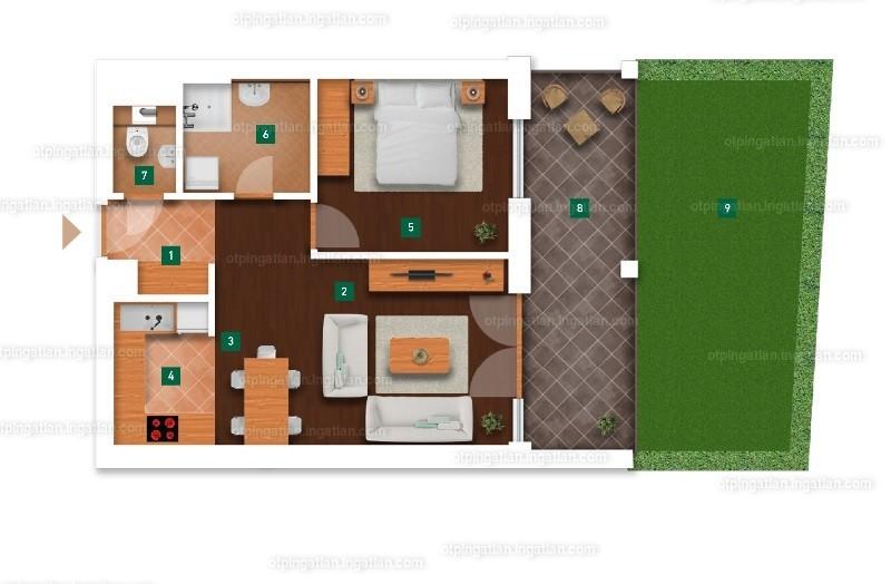 1 + 1 szoba kertkapcsolattal