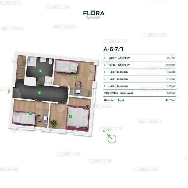 Flóra lakópark - 3 + 1 szoba erkéllyel