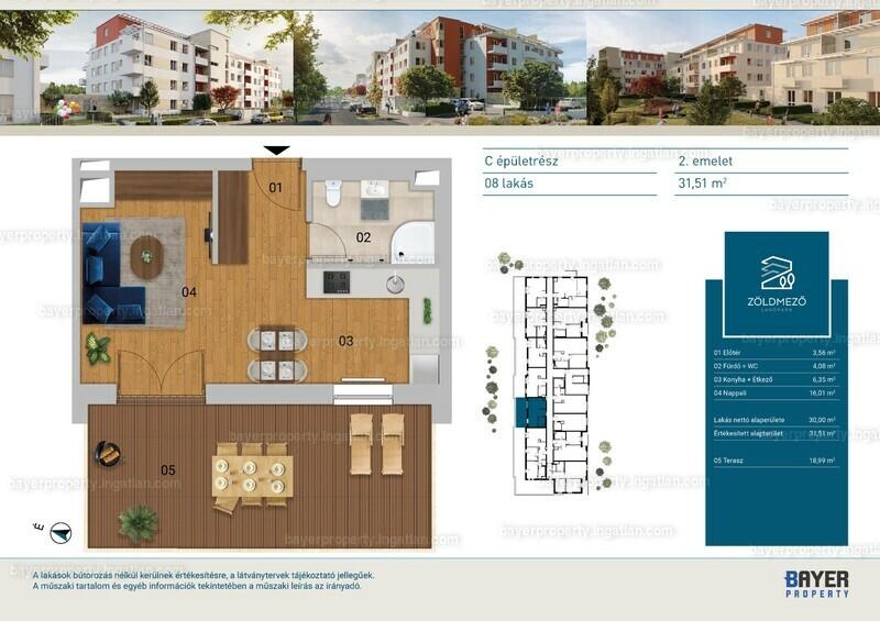 Zöldmező Lakópark - 1 szoba erkéllyel