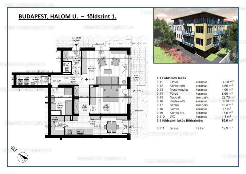 Tulipán Lakókert 1BB épület - 2 szoba kertkapcsolattal