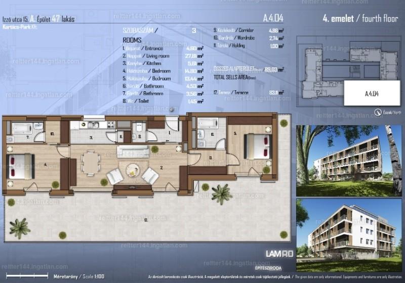 Izzó Garden - 3 szoba erkéllyel