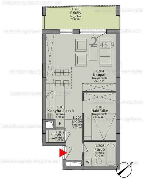 Márton 14A ÖkoHáz - 1 szoba erkéllyel