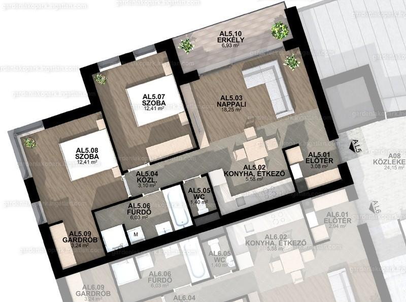 Garden Lakópark - 3 szoba erkéllyel