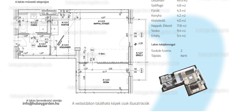 Hubay Garden - 2 szoba erkéllyel