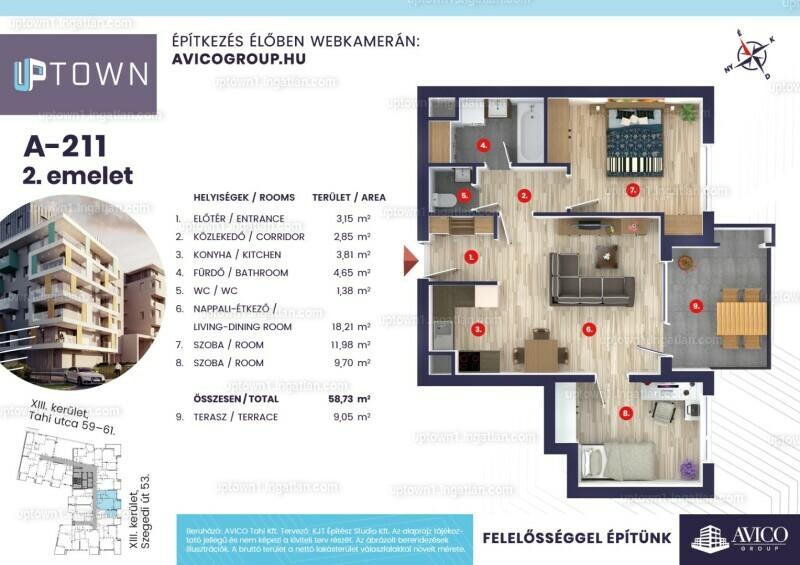 Uptown 1.ütem - 2 szoba erkéllyel