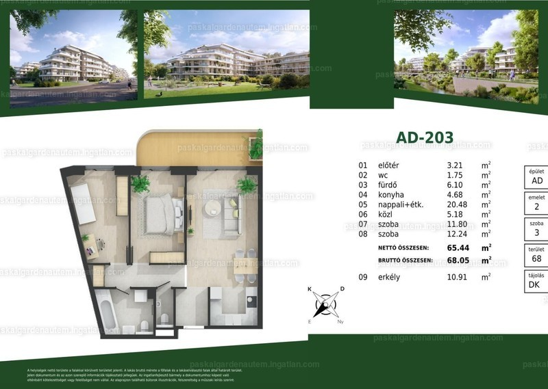 Paskal Garden A.ütem - 2 + 1 szoba erkéllyel