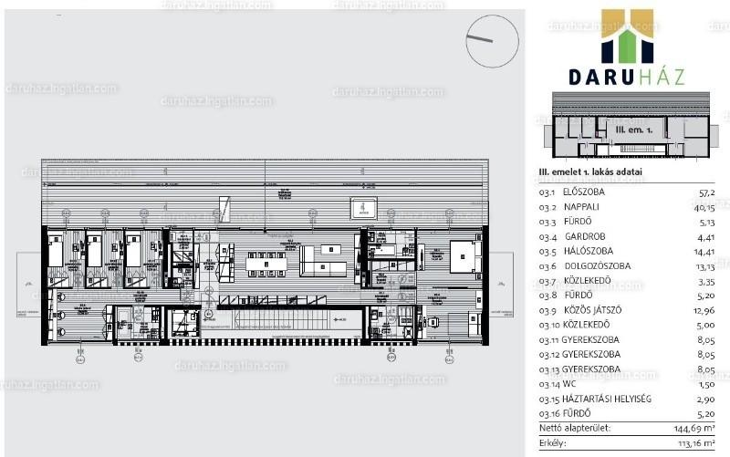 DARUHÁZ - 8 szoba erkéllyel