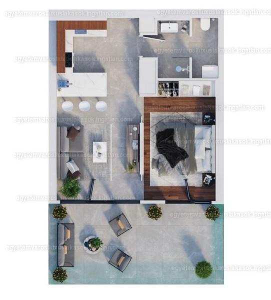 Egyetemvárosi luxuslakások - 1 szoba erkéllyel