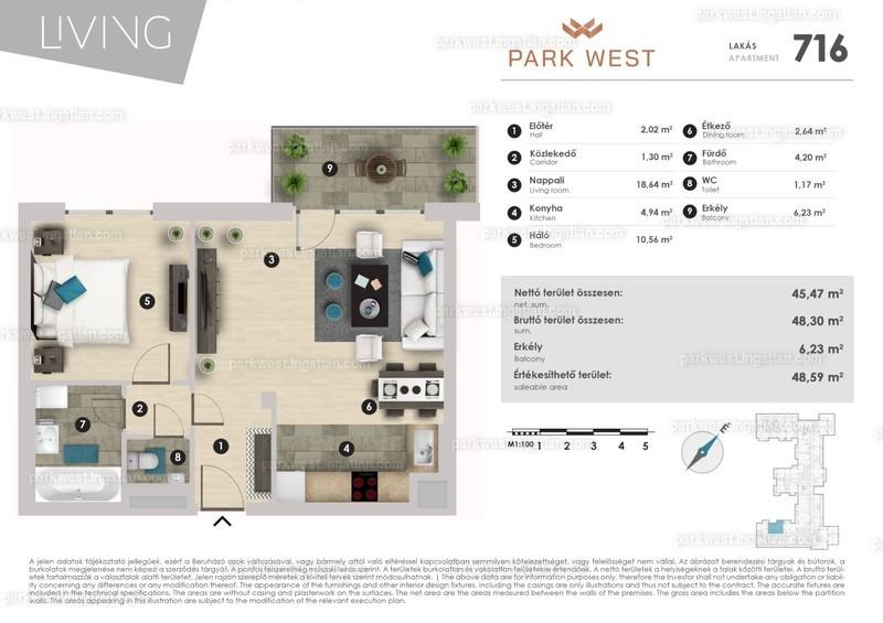 Park West - 1 + 1 szoba erkéllyel