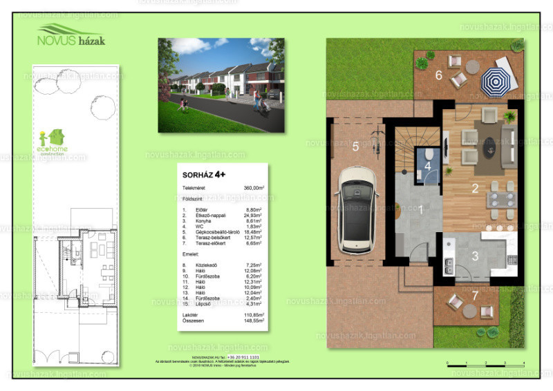 NOVUS Házak Biatorbágy - 5 szoba kertkapcsolattal