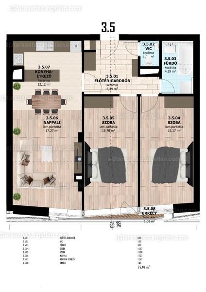 AJ3 Társasház - 3 szoba erkéllyel