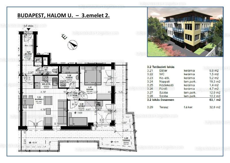 Tulipán Lakókert 1BB épület - 3 szoba erkéllyel