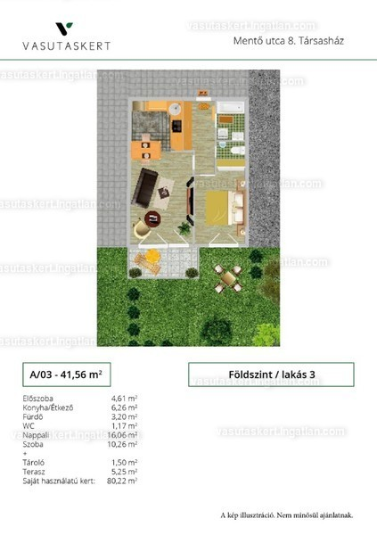 Vasutaskert - 2 szoba kertkapcsolattal