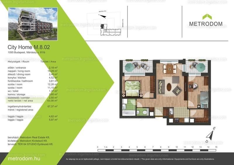 Metrodom City Home L-M - 2 + 1 szoba erkéllyel