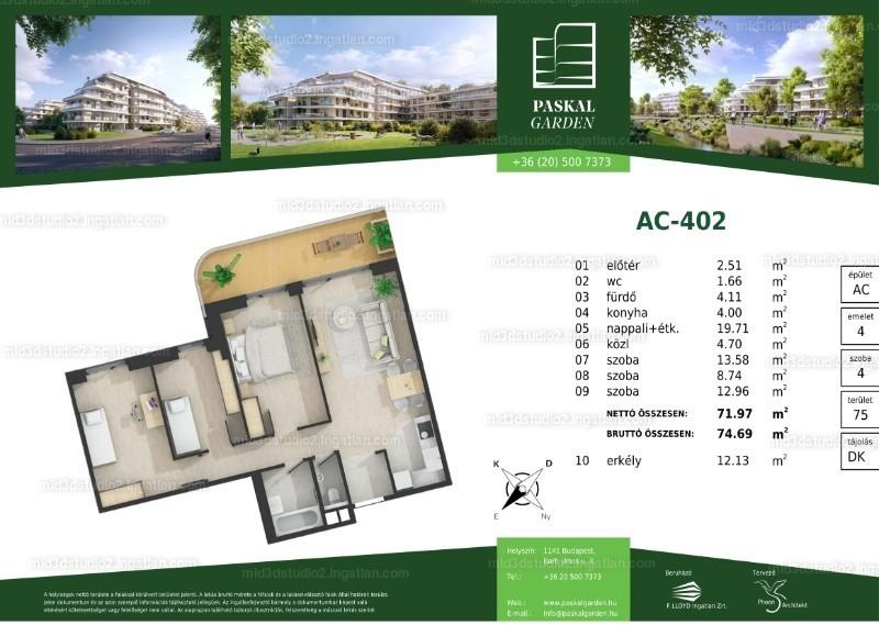Paskal Garden - 4 szoba erkéllyel