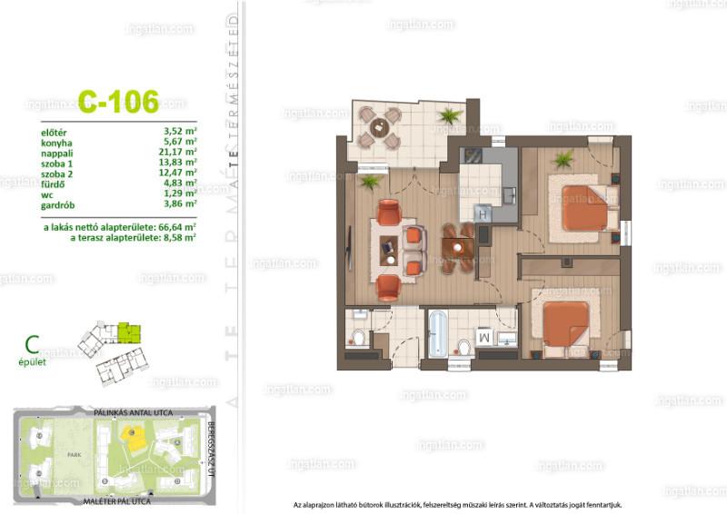 Sasad Liget VI. ütem - 3 szoba erkéllyel
