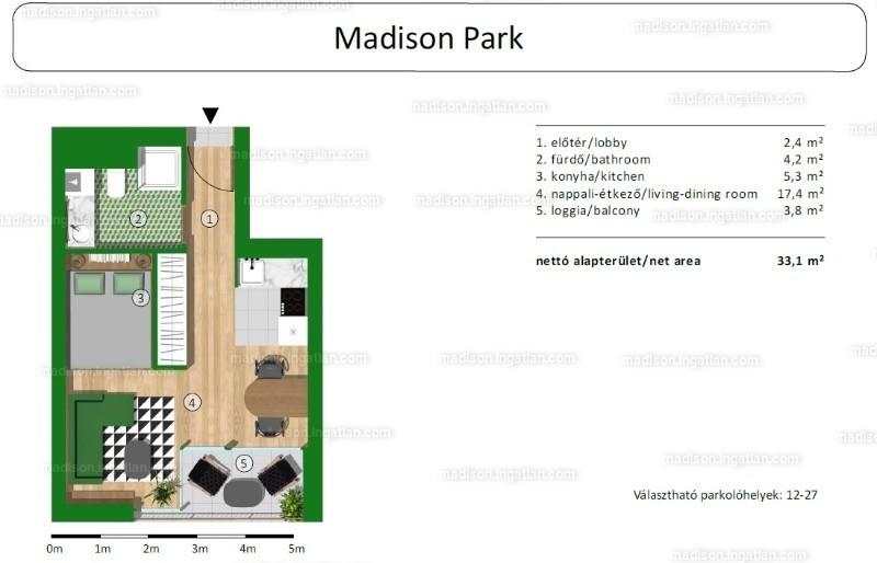 Madison Park I. ütem - 1 szoba erkéllyel
