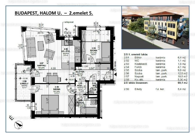 Tulipán Lakókert 1BB épület - 2 + 1 szoba erkéllyel