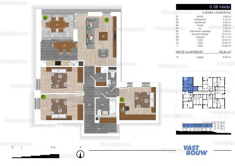 Zöld Sziget Lakások - 4 szoba erkéllyel