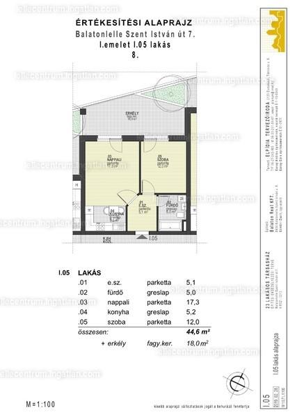 Lelle Centrum Társasház - 2 szoba erkéllyel