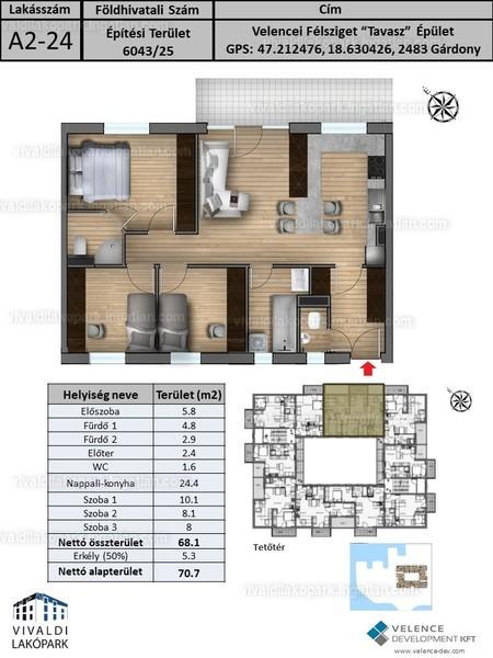 Vivaldi Lakópark - 4 szoba erkéllyel